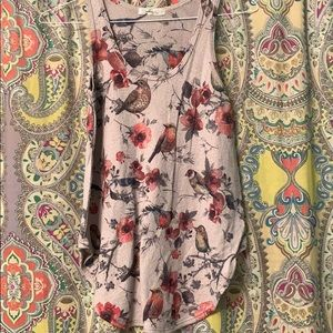Tops - Stretchy bird and floral design tank top